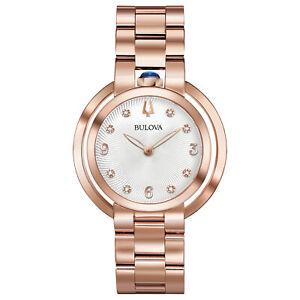Bulova Women's Quartz Rubaiyat Sapphire Crystal Diamond Accent 35mm Watch 97P130