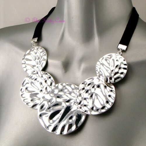 Silver Ripple Relief Kuchi Ethnic Tribal Slave 5 Textured Plate Discs Necklace