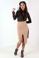 New Womens Ladies Long Sleeve Mesh Top Midi Dress Black/Camel Size 8-14 UK
