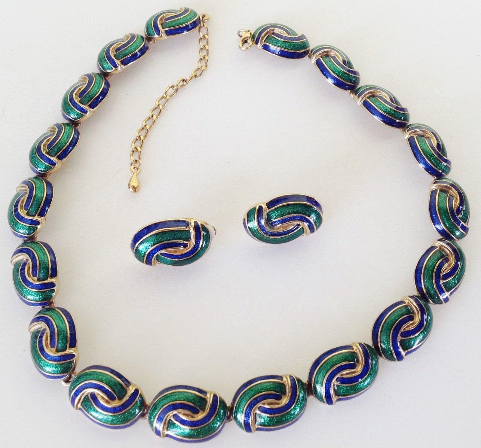 Parure collier B.O vintage maillon relief émail green et blue color or 446