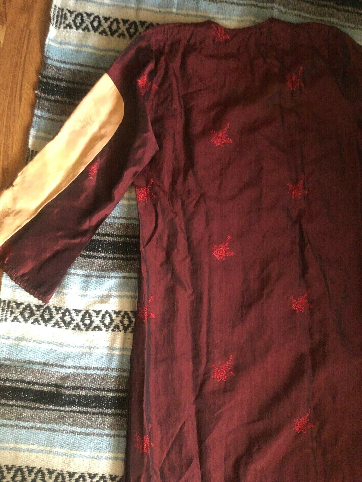 Vtg 60s 70s Ethnic PATCHWORK Crochet FLORALEmbroi… - image 8