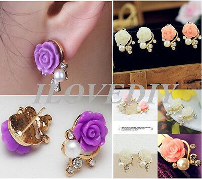 Women Korean Style Rose Flower Crystal Rhinestone Pearl Ear Stud Earrings