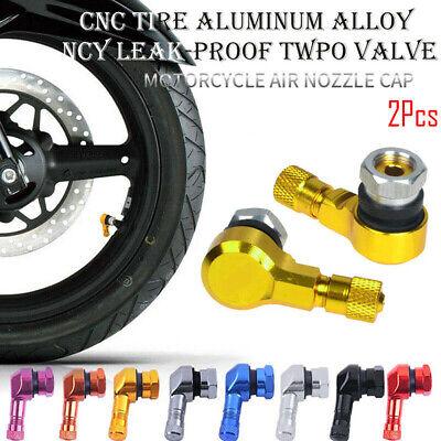 90 Degree Motorcycle CNC Valve Stems Tire 10mm Pair 11.3mm Rim Orange