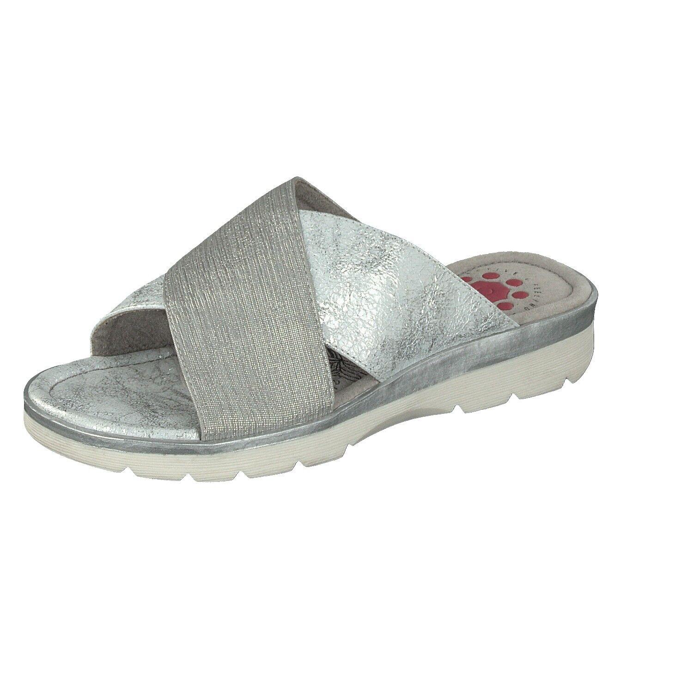 Relife Damen Schuhe Freizeit Pantolette Slipper 8717-17702-04 in Silber glänzend