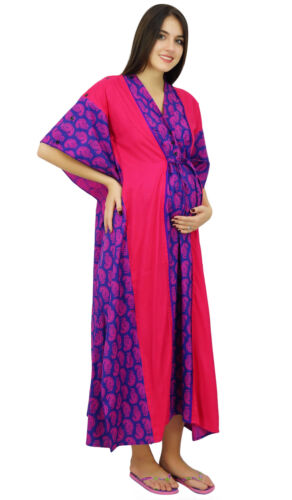Bimba Hospital Delivery Cotton Kaftan Printed Nursing Gown Front & Side Buttons