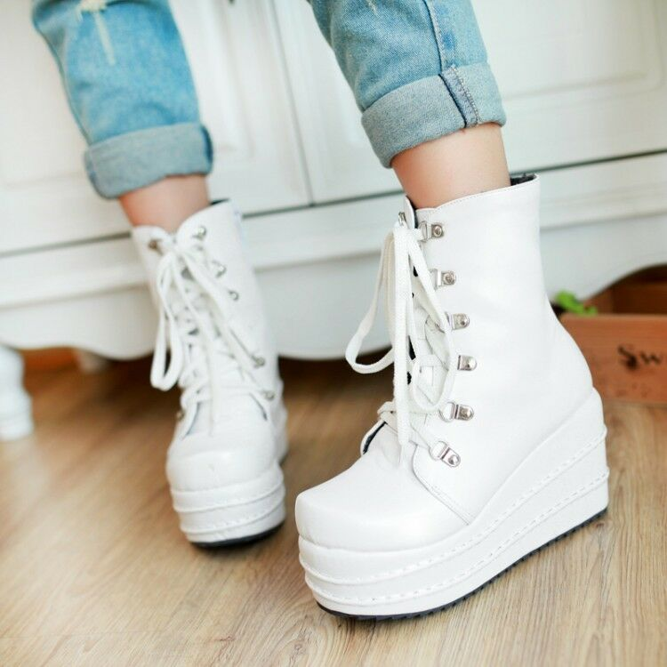 Women Round Toe Lace Up Platform Creepers Wedge High Heel Fashion Mid Calf Boots