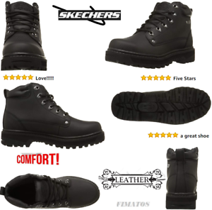 f5bb7f61a53 Details about Skechers Men's Comfortable Leather Casual Pilot Utility  Boot,10 XW US,Black
