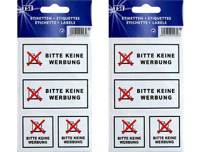 """Versand- & Hinweisaufkleber WunderschöNen 4 Aufkleber """"bitte Keine Werbung"""" Etiketten Bogen Selbstklebend Für Briefkasten"""