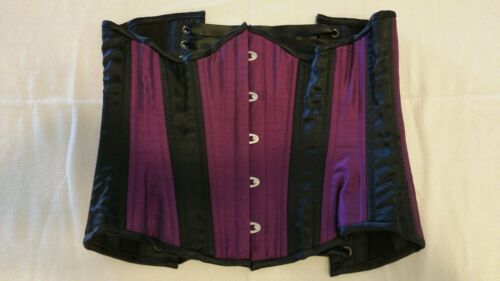 Purple and Black Silk Bustier Corset With Purple N