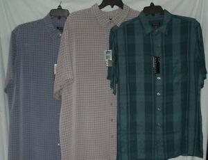 Mens van heusen big tall casual dress shirt short sleeve for Van heusen plaid shirts