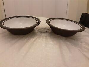 Pair-Vintage-Dessert-Bowls-Hornsea-Pottery-Contrast-Tableware-1976