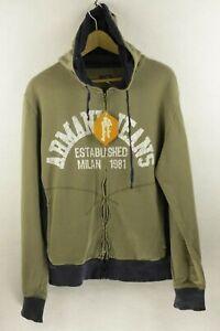 AJ-SPORT-Mens-ARMANI-Hoodie-ATHLETIC-ITALIAN-ZIPPER-Hooded-Sweater-Large-P93