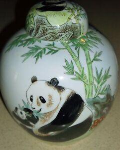 "G)VINTAGE KING'S FINE CHINA HAND DECORATED MACAO PANDA BEAR GINGER JAR 8 1/4""H"