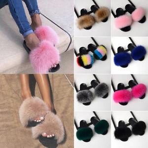 Girl-Real-Fur-Flat-Shoes-Fluffy-Flip-Flop-Slippers-Sliders-Sandal-Xma-Present