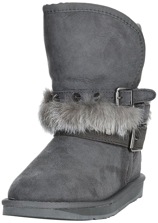 NWB Australia LUXE Collection Hatchet Rabbit Fur Short Boot in Gray HAT203N