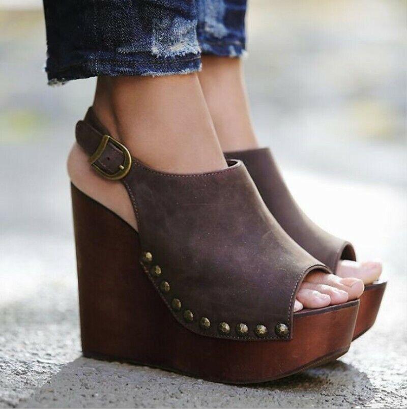 Damenschuhe Peeptoe Wedges Pumps Sandalen Slingbacks Nieten Super High Heel