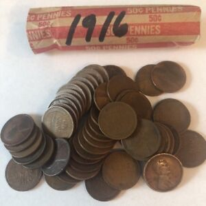 Details about 1916 Roll Of Lincoln Wheat Pennies