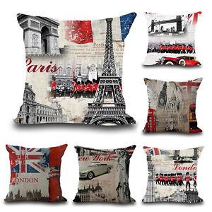 18\'\' Vintage London New York City Cushion Cover Linen Pillow Case ...