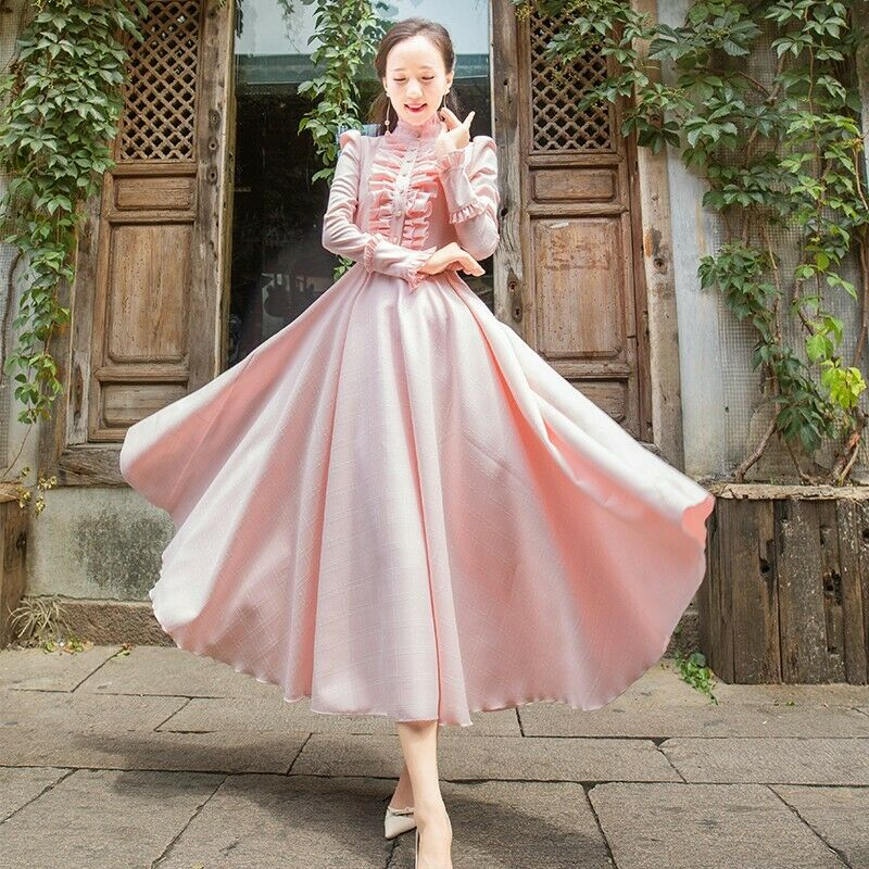 Womens Palace Ruffled Expansion Skirt Pearl Stand Collar Ladies Vintage Dress Na
