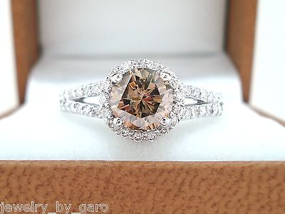 18K WHITE GOLD NATURAL CHAMPAGNE BROWN DIAMOND ENGAGEMENT RING 1.35 CARAT HALO