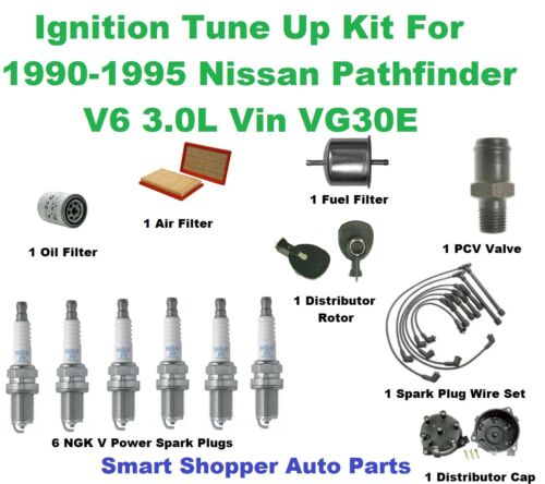 Air Oil /& Fuel Filter Wire Set Ignition Tune Up 4 Pathfinder Spark Plug PCV