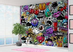 Graffiti stickerbomb style Wallpaper wall mural wall art 12884801