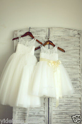 TUTU Lace Tulle Flower Girl Dress Wedding Easter Junior Bridesmaid Baptism Baby!