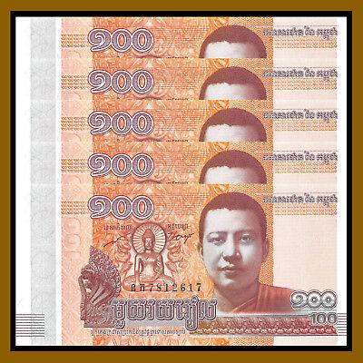 Lot 10Pcs Cambodia 100 Riels,2014//2015,P-New,MONK BUDDHA Norodom,Uncirculated