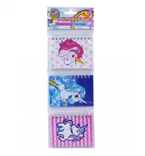 3Pc Unicorn NOTEBOOK Set Bambini Regalo Di Compleanno Party Borsa Filler Favori Notebook Regno Unito