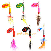 Lot 6 Fishing Lure Feather Hooks Spoon Spinners Baits Tackle Trout Salmon Surf
