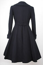 Ladies vintage 1940s/50s swing style flattering wool coat Navy Blue cord