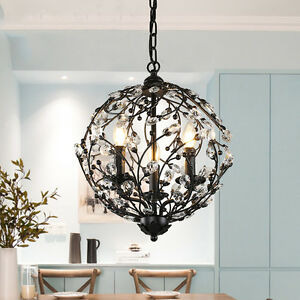 Details About Vintage Pendant Ceiling Light Retro Metal Crystal Ball Chandelier Fixtures