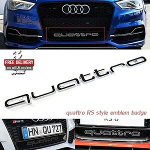 Audi-QUATTRO-Grill-Badge-Logo-Emblem-RS6-RS3-RS4-RS5-RS7-A3-A4-A5-A6-S3-S4-S5-S6
