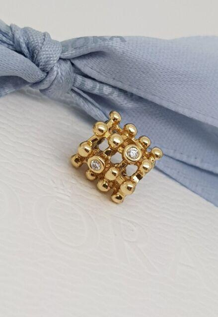 Authentic Pandora 14k 14ct Gold Diamond Matrix Charm 750313D Retired