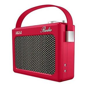 akai red retro portable radio pll fm am faux leather a60015r. Black Bedroom Furniture Sets. Home Design Ideas
