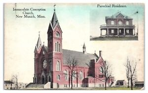 Early-1900s-Immaculate-Conception-Church-New-Munich-MN-Hand-Colored-Postcard