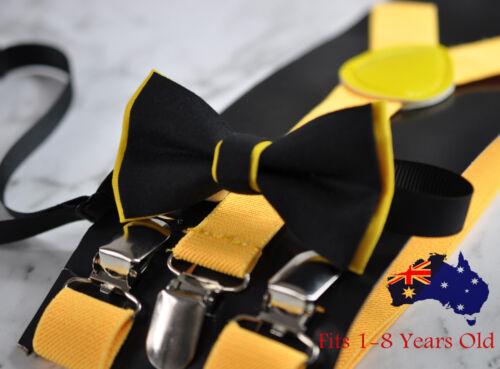 Yellow Elastic Suspenders 1-8Y//O Kids Boy Toddler Black Yellow Cotton Bow Tie