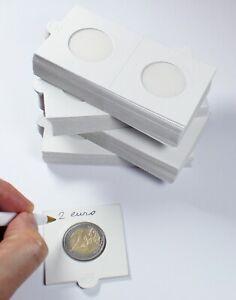 25-Etuis-Carton-Autocollants-Blancs-pour-Pieces-de-Collection-de-2-Euro