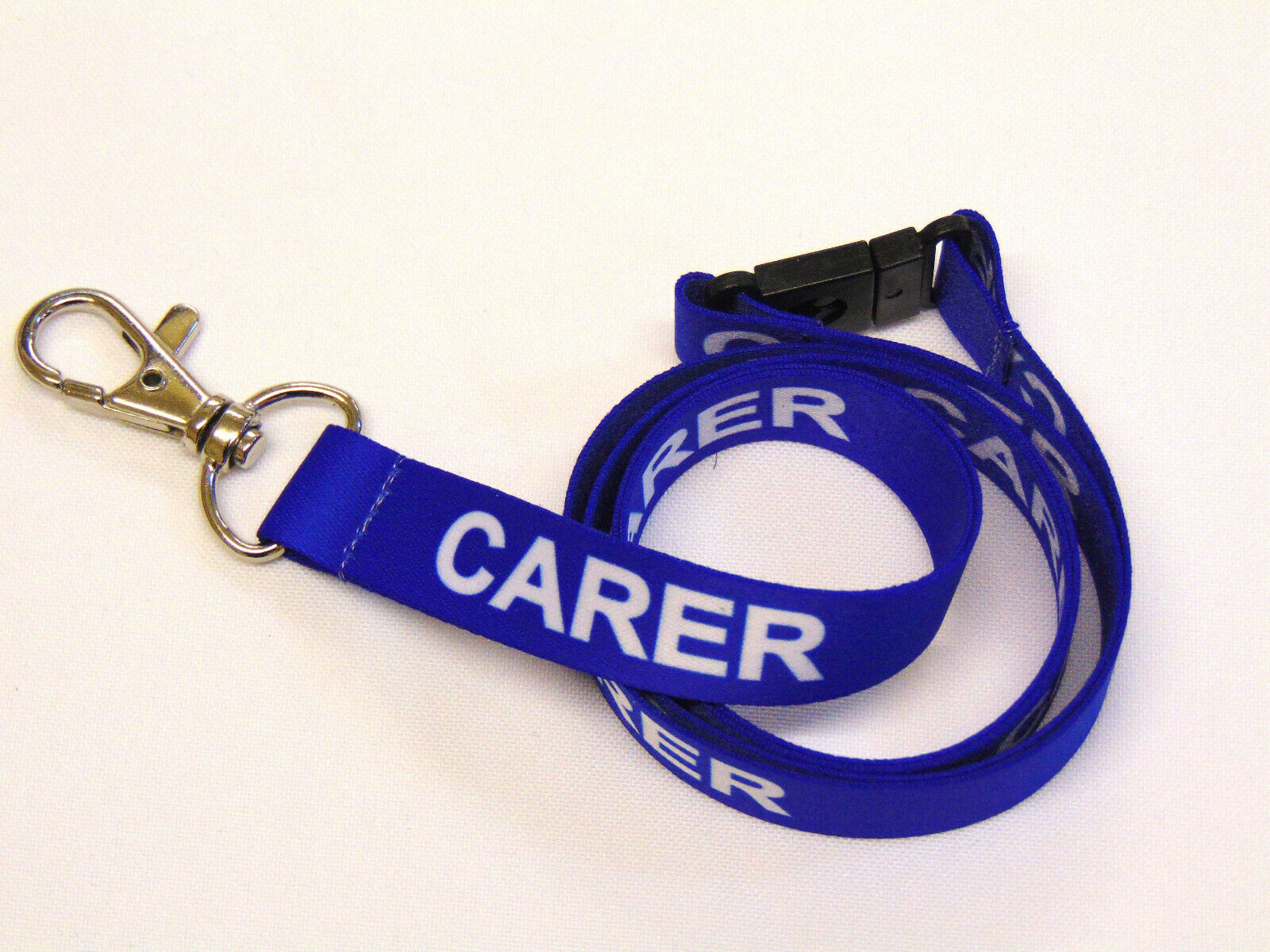 CARER lanyard blue 15mm with safety breakaway for ID & keys. Free UK post.