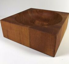 Vintage Signed Chopping Wood Bowl Butcher Block Made in Japan