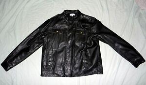 Mens-Calvin-Klein-XL-Black-Faux-Leather-Dual-Front-Pocket-Zip-Snap-Jacket