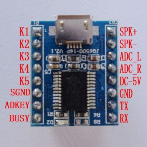 JQ6500 Voice Klingen Musik MP3 Play Control Modul DIP-16 UART SPI Flash