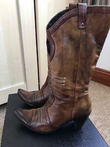 cowboy stivali pelle marrone in Italy da 37 Vic Matie Made 5 4 In 4 marrone w1EaR