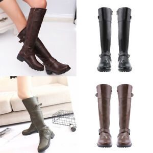 Women-Knee-High-Lace-Up-Punk-Shoes-Buckle-Military-Outdoor-Wear-Combat-Boots-US