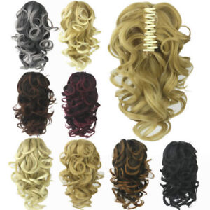 Womens-Casual-Curly-Wavy-Short-Ponytail-Hairpiece-Claw-Clip-on-Hair-Extensions