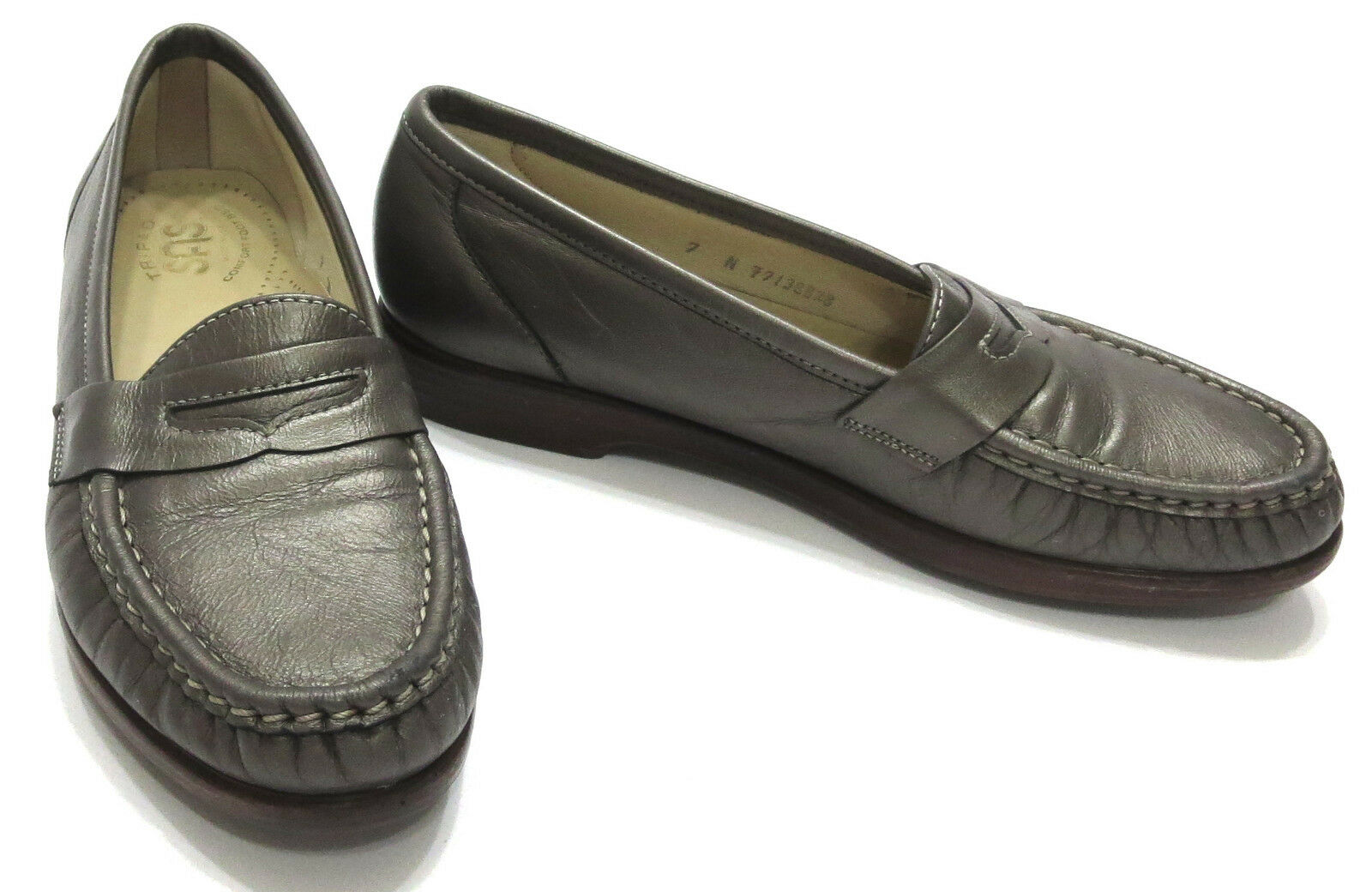 SAS Tripad Comfort Womens Loafer 7 N Pewter Penny Leather Slip On Shoes USA
