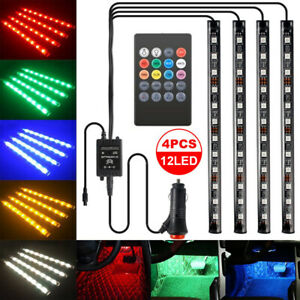 4IN1-LED-RGB-Ambientebeleuchtung-Innenraumbeleuchtung-Licht-auto-lampen-12V