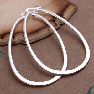 Women-Ladies-Silver-Tone-Stainless-Steel-Drop-Oval-Shape-Dangle-Hoop-Earrings