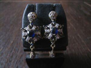 Kronjuwelen gesucht ? elegante Stern saphir blau diamant Ohrringe 925er Silber
