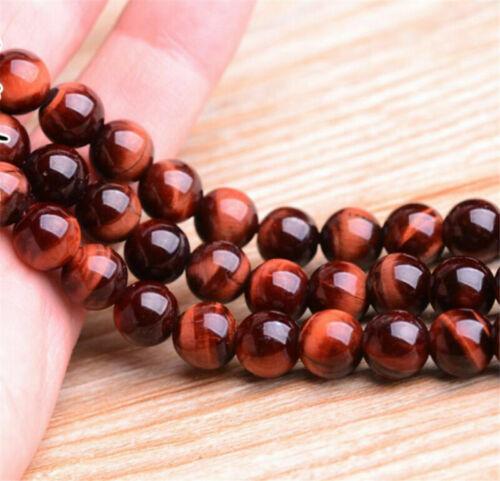 "4//6//8mm Natural Red Tiger/'s Eye Gemstone Round Loose Spacer Beads 15/"""